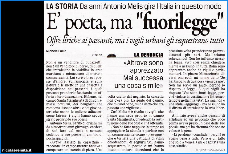 poeta fuorilegge venezia antonio melis